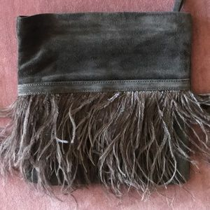 Feathered/suede clutch